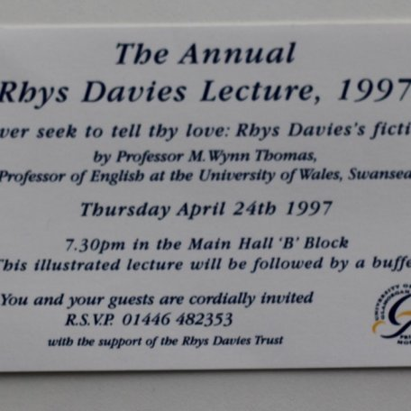The Annual Rhys Davies Lecture the first in a series given at the University of Glamorgan in 1997: Image 7