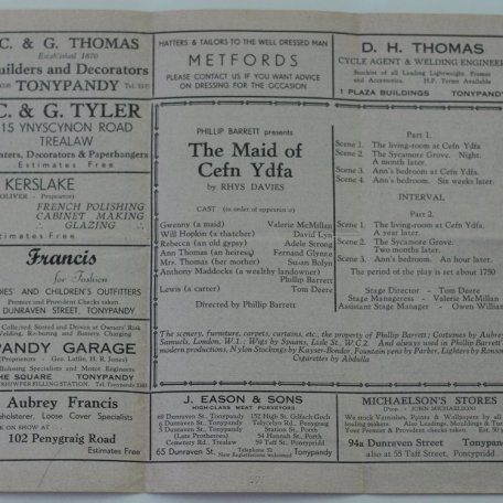 Publicity for The Maid of Cefn Ydfa, RD's play, in 1952 : Image 4