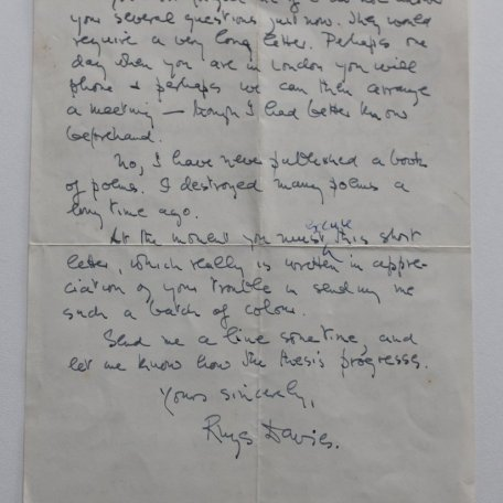 A letter to Jean-Paul Le Lay, a Breton student writing a dissertation on Rhys Davies: Image 3