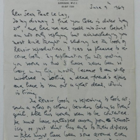 A letter to Jean-Paul Le Lay, a Breton student writing a dissertation on Rhys Davies: Image 2